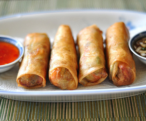 food, spring rolls, and delicious image