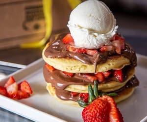 chocolate, pancakes, and strawberry image