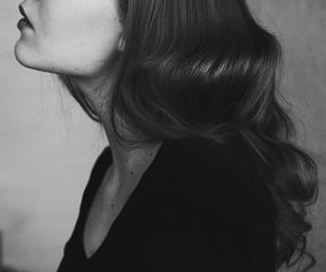 beautiful, black and white, and hair image