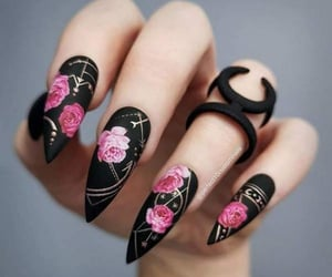 black, flower, and nail image