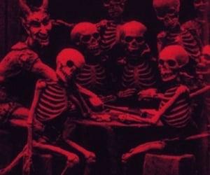 skeleton, black and white, and skull image