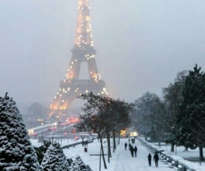 snow, christmas, and eiffel tower image