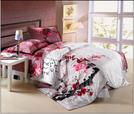 ... 4 Pc Clical White And Red Cotton Duvet Cover Oriental Bedding Set  Milanoo ...