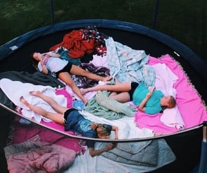 sleepover, trampoline, and friends image