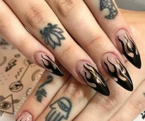 nails, fire, and girl image