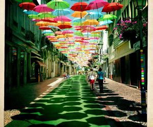 umbrella, street, and portugal image
