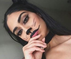 black, cat, and black makeup image