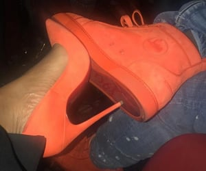 high heels, shoes, and orange shoes image