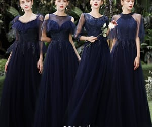 girl, long dress, and navy blue dress image