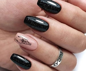 black, glitter, and nail art image