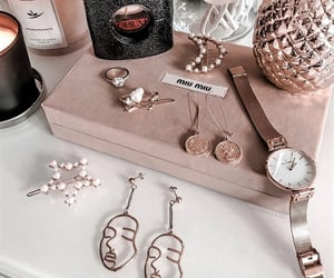 earrings, rose gold, and accessories image