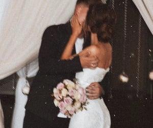 couple, wedding, and kiss image
