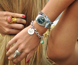 accesories, blonde, and clock image