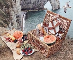 basket, beach, and food image