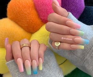 ombre coffin nails&rings image