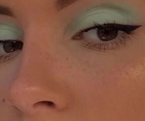 green, makeup, and eyeliner image