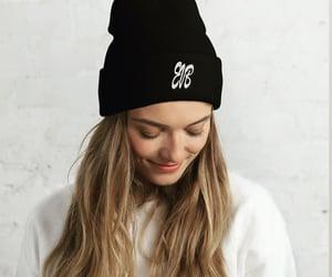 beanie, smile, and blonde image