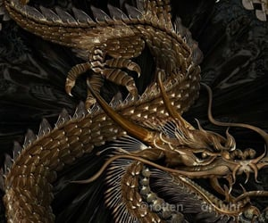 theme, dragon, and gold image