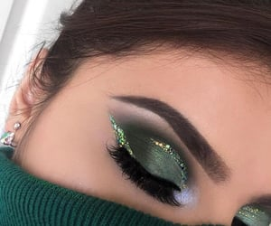 makeup, green, and glitter image