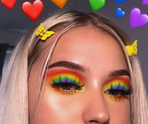 makeup, rainbow, and blue image