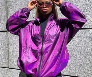 holographic, metal, and purple image