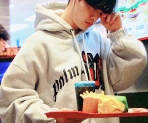 boyfriend, eating, and hoodie image