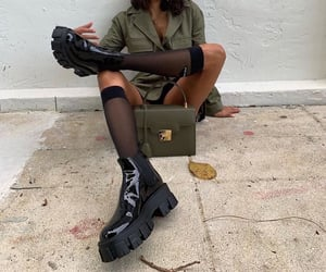 bag, boots, and green image