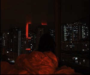 night, city, and red image
