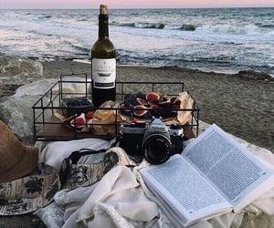 sea, sunset, and wine image