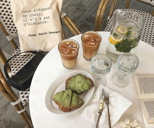 coffee, croissant, and green image