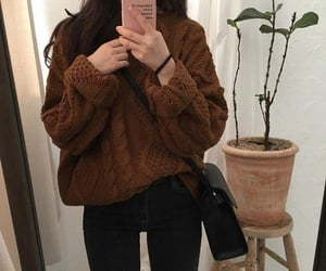 fashion, girl, and brown image