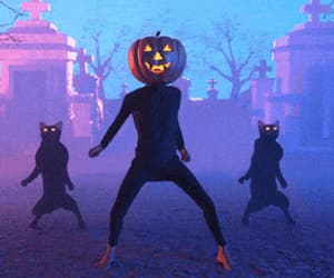 cats, pumpkin, and retro image