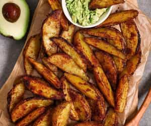 food, potato, and potato wedges image