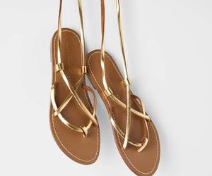 summer, Zara, and gold gladiator sandals image