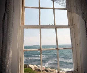 window, sea, and beach image