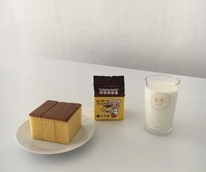 food, cake, and milk image
