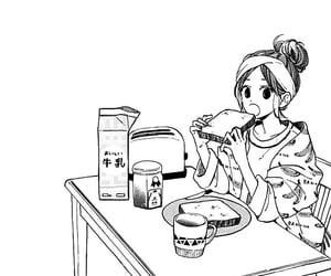 black&white, manga girl, and drawing image