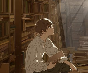 anime, anime boy, and book image