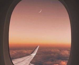 travel, airplane, and moon image