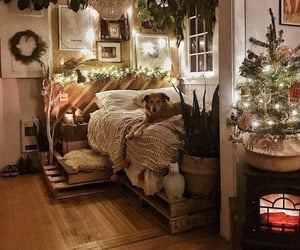 christmas, cozy, and bedroom image