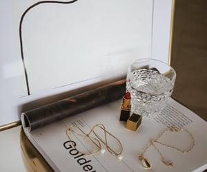 lipstick, gold, and jewelry image