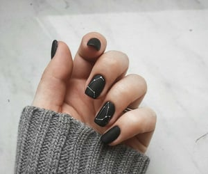 black nails, constellations, and fashion image