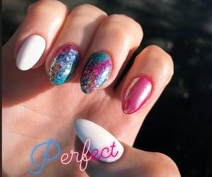 colorful nails, unicorn nails, and glitter nails image