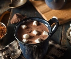 hot chocolate, chocolate, and marshmallow image