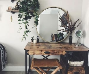 bedroom, round mirror, and boho image