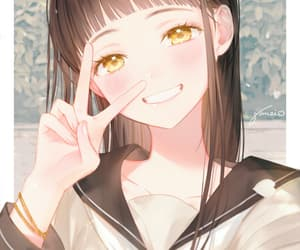 peace sign, idolmaster, and gomzi image