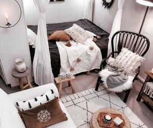 bed, boho style, and bedroom image