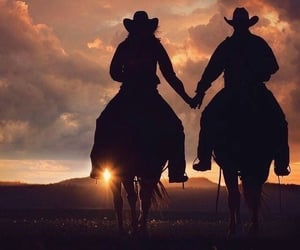 couple, horse, and cowboy image