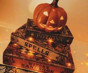 Halloween, books, and pumpkin image
