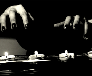 black and white, candles, and hands image